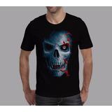 Camisa Caveira Skull Bats Moto Banda Harley Davidson Rock