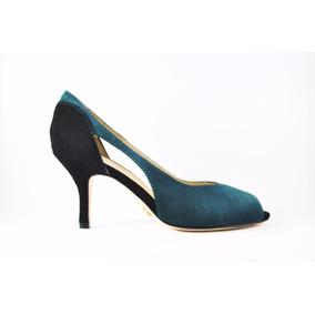 Sapato Peep Toe Feminino Em Couro Legítimo!