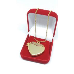 Colar Pingente Coração Relicário Banho Ouro 18k + Caixinha