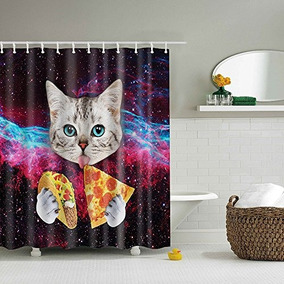 Gwell Custom Space Nebula Universe Cat Eat Pizza Shower Cur
