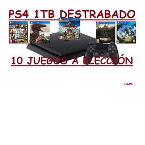 Ps4 1 Tb Nuevo Destrabado + 10 Juegos A Elección Garan 1 Año