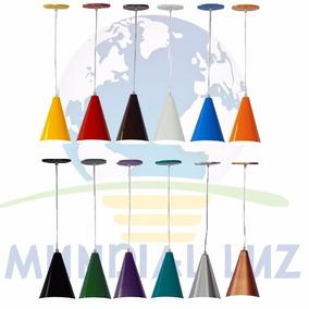 Kit 2 Pendentes Cone De Alumínio Colorido