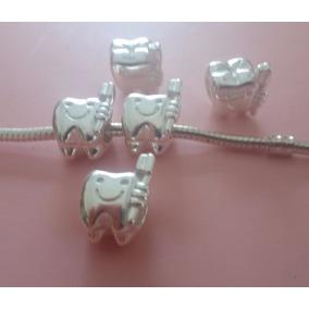 Berloque Dente Com Escova De Dente Para Pandora Prata