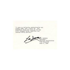Lee Iacocca - Cita Escrita Con Membrete Firmada