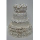 Bolo Maquete Para Casamento E Noivados - Bolo Branco