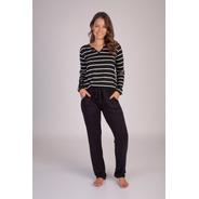 Pijama Listrado C/bolso Longo Viscolycra - Ref. 215129
