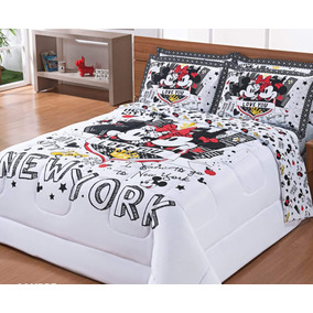 Edredom Dupla Face Queen Size Mickey E Minnie Em Nova York