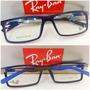Rb8452 Armação Esportiva Óculos Receituário Azul Fosco +case