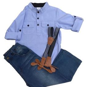 Conjunto Calça Jeans Infantil Menino Com Suspensorio