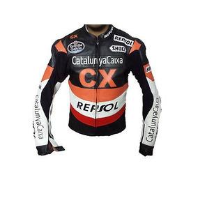 Chaqueta Repsol 100% Piel Vaca Biker Motociclista Y Guantes