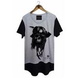 Camiseta Longline Swag Oversized Pirata Caveira Corvuz