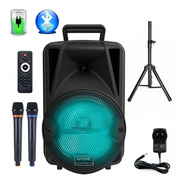 Bafle Potenciado 8 3000w Bluetooth Usb Sd Bateria Luces Led