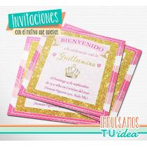 Cumple Princesa - Invitación Coronita Para Imprimir