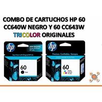 Combo De Cartuchos Hp 60 Negro Y Color 100% Original Vigente