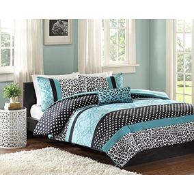 juego de cama edredn de cama moderna adolescente teal negr