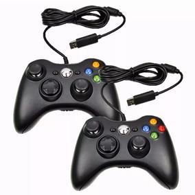 Kit 2 Controle Xbox 360 Computador Pc Com Fio Joystick Usb
