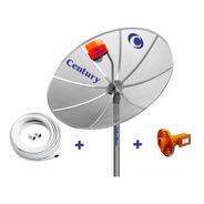 Antena Parabolica Century 1,7 Metros Diametro 10 Metros Cabo Lnbf Multiponto Superdigital Conectores Suporte