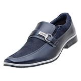Sapato Social Masculino Venetto Lona Jeans Azul Marinho