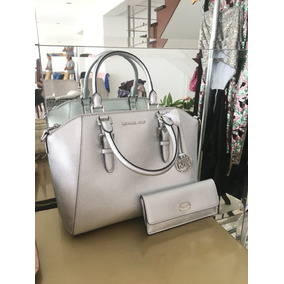 Bolso Y Billetera Color Plata Michael Kors 100 % Original