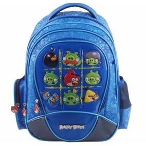 Mochila Angry Birds Escolar Notebook Acolchoada Azul Tam G