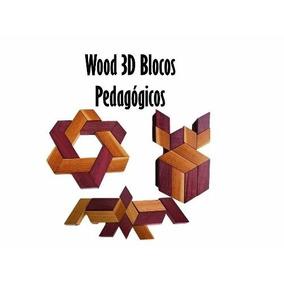 Kit Pedagógico Blocos Em Madeira Wood3d