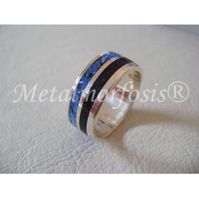 Alianza/anillo Plata 925, Ebano Y Piedras Naturales