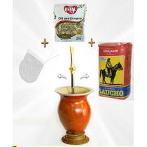Pc6 Kit Chimarrão Cuia + Bomba + Filtro + Erva + Chá