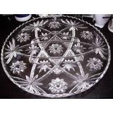 Bandeja Antigua De Cristal De Bohemia Tallado De Buen Diseño