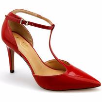 Sapato Feminino Scarpin Aberto Tornozeleira Couro Lux Lindo