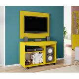 Conjunto Painel Tv Com Rack Cor Amarelo