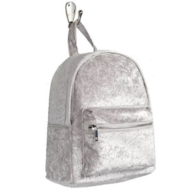 Bolsa Mochila Backpack Dama Terciopelo Gris Moda Forever 21