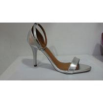 Sandalia Salto Alto Fino Verniz Prata Metalizada