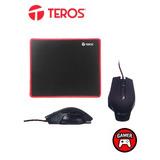 Te Kit Gamer Teros Gm-905, Mouse Optico + Mousepad De Tela F