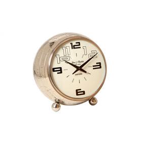 Relógio De Mesa Decorativo Spatiale Com Banho De Níquel