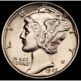Estados Unidos Dime 1943 Plata 900 - Unc - 2° Guerra Mundial