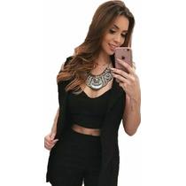 Conjunto Feminino Blazer Short Cropped Top Estilo Anita