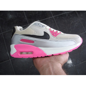 Kp3 Zapatos Nike Air Max 90 Beige / Fucsia Del 35 Al 40
