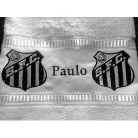 Toalha De Banho Bordada Time De Futebol Santos Com Nome