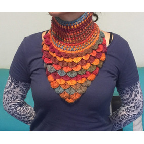 Cuello Tipo Bufanda Tejido Crochet Tonos Caribe