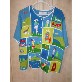 Blusa Para Mujer Manga Corta Tejida Diseño Golfista Grande