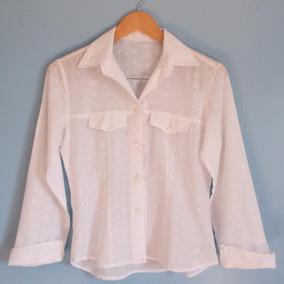 Camisa Branca Manga Longa Transparente