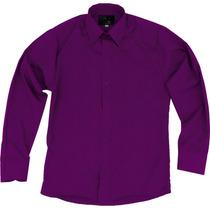 Camisa Vestir Infantil Juvenil Bailables Morada Vino Roja