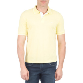 Camisa Polo Masculina Amarela Com Detalhe Colombo