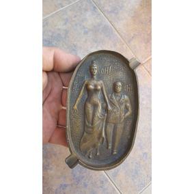 Antiguo Cenicero Erotico Bronce Macizo Doble Faz