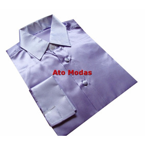 Camisa Masculina Punho Duplo Seda Cetim N.02 ( P )