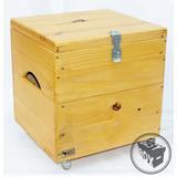 Baú Box Pinus Caixote De Feira Vinil Lp Rodizios Silicone