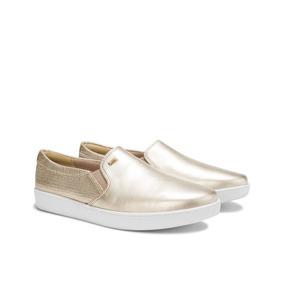 Zapato Tenis Alpargatas Flexi Dorados Cómodos 25.5 Nuevos