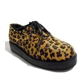 Sapato, Creeper Couro, Estampa Onça, Rockstore, Cr-182