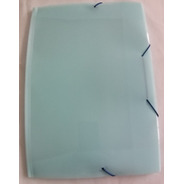 Pasta Aba Ofício Com Elástico Azul Pastel Transparente