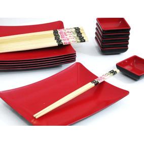 Kit 18 Pçs Japonesa Travessa Porta Shoyo E Hashi Oriental
